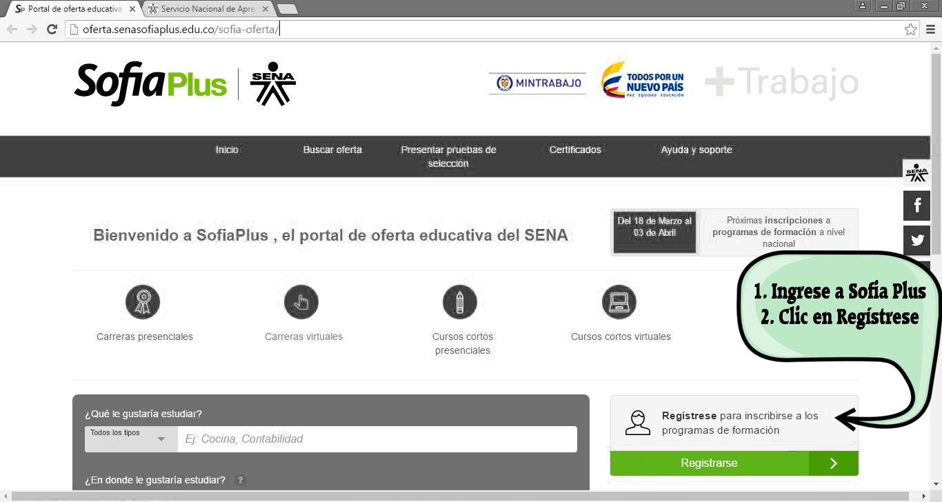 Cómo registrarse en Sofia Plus - Paso 1