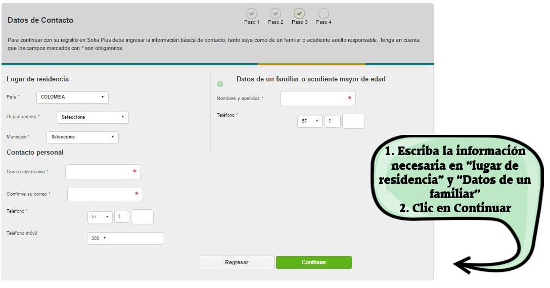Cómo registrarse en Sofia Plus - Paso 3.2