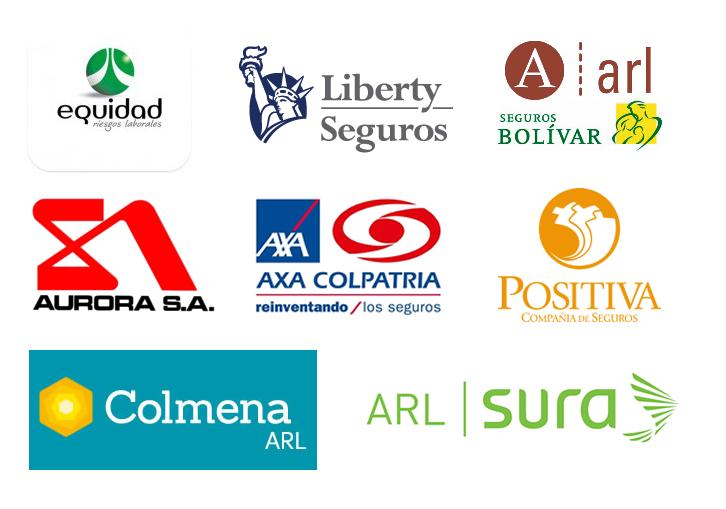 Logos de las principales Administradoras de Riesgos Laborales - ARL en Colombia