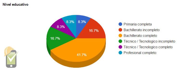 Perfil sociodemográfico. Información de nivel de estudios presentada con porcentajes