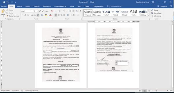 Visualización de la licencia en salud ocupacional en word