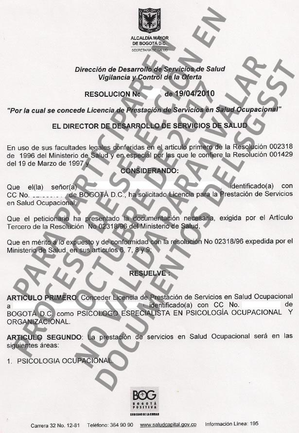 Ejemplo de una licencia de salud ocupacional con marca de agua