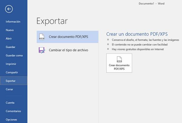 Ventana de exportación a PDF de word