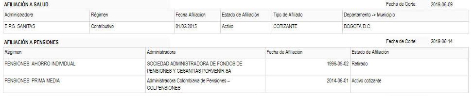 RUAF - Ejemplo afiliación a pensión y EPS
