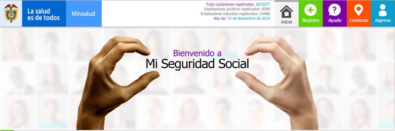 Imagen de bienvenida en miseguridadsocial.gov.co