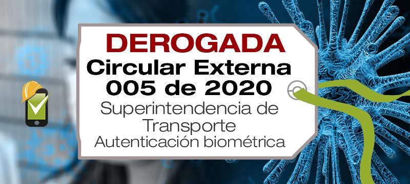 La Circular Externa 005 de 2020 de Supertransporte establece lineamientos para el uso de los dispositivos de autenticación biométrica