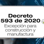 El Decreto 593 de 2020 aumenta la cuarentena hasta el 11 de mayo y adiciona a las excepciones al sector construcción y manufactura