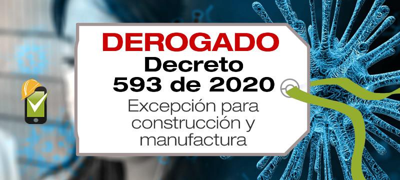 El Decreto 593 de 2020 fue derogado por el Decreto 636 de 2020