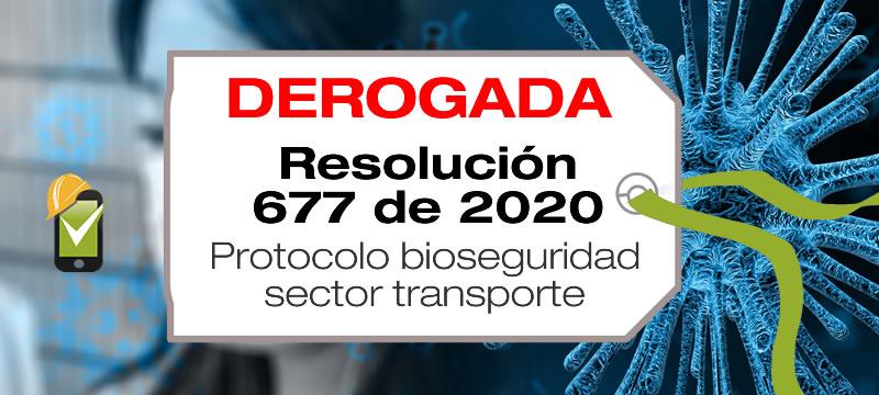 La Resolución 677 de 2020 adopta el protocolo de bioseguridad para el sector transporte