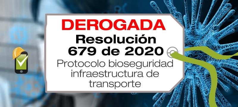 La Resolución 679 de 2020 adopta el protocolo de bioseguridad para el sector de infraestructura de transporte