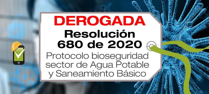 La Resolución 680 de 2020 adopta el protocolo de bioseguridad para el sector de Agua Potable y Saneamiento Básico