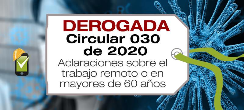 La Circular 030 de 2020 del Ministerio de Salud presenta aclaraciones sobre el trabajo remoto o a distancia en mayores de 60 años.
