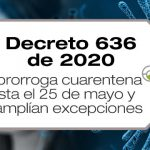 El Decreto 636 de 2020 amplía la cuarentena hasta el 25 de mayo de 2020 y determine nuevas excepciones en la circulación.