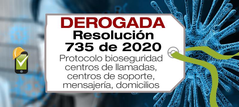 La Resolución 735 de 2020 establece el protocolo de bioseguridad para centros de llamadas, centros de soporte, mensajería, domicilios