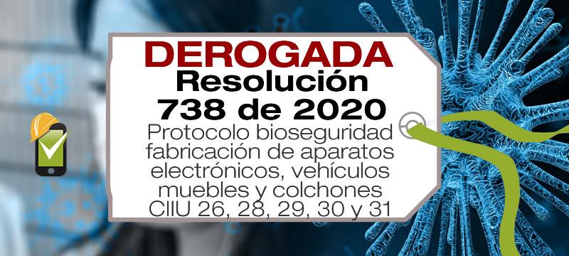 La Resolución 738 de 2020 establece el protocolo de bioseguridad para subsectores de manufactura con códigos CIIU 26, 27, 28, 29, 30 y 31.