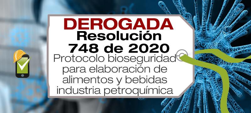 La Resolución 748 de 2020 adopta el protocolo de bioseguridad para elaboración de alimentos y bebidas, la industria petroquímica y la industria metalúrgica básica.