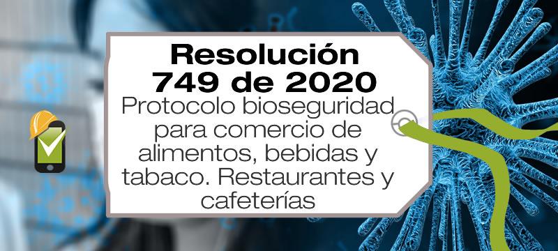 La Resolución 749 de 2020 adopta el protocolo de bioseguridad para el comercio de alimentos, bebidas y tabaco, restaurantes y cafeterías.