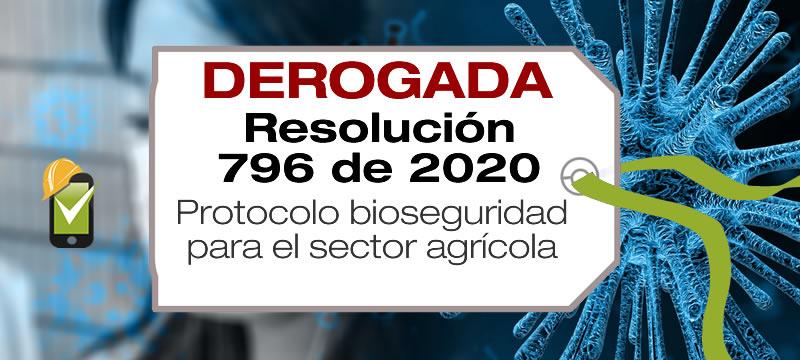 La Resolución 796 de 2020 adopta el protocolo de bioseguridad para el sector agrícola.