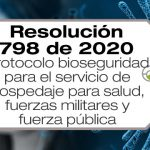 La Resolución 798 de 2020 adopta el protocolo de bioseguridad del hospedaje de personal de salud, fuerzas militares y fuerza pública.