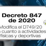 El Decreto 847 de 2020 modifica el D749/20 en cuanto a actividades físicas y deportivas