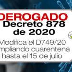 El Decreto 878 de 2020 amplía la cuarentena hasta el 15 de julio de 2020