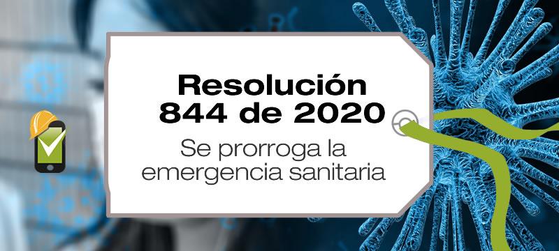 La Resolución 844 de 2020 prorroga la emergencia sanitaria hasta el 31 de agosto de 2020