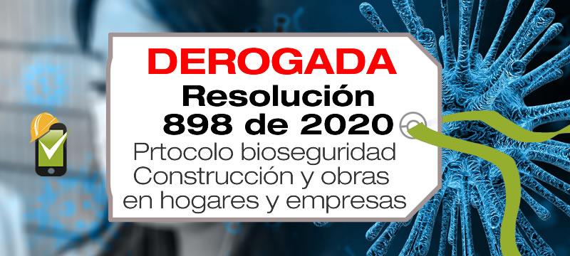 La Resolución 898 de 2020 adopta el protocolo de bioseguridad para el sector de la construcción y obras a ejecutar en los hogares e instituciones habitadas