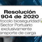La Resolución 904 de 2020 establece el protocolo de bioseguridad para el sector portuario, exclusivamente para transporte de carga