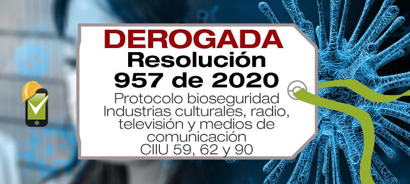 La Resolución 957 de 2020 establece el protocolo de bioseguridad para las actividades de industrias culturales, radio, televisión y medios de comunicación.