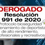 La Resolución 991 de 2020 adopta el protocolo de bioseguridad para el entrenamiento de deportistas de alto rendimiento, profesionales y recreativos