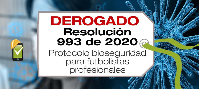 La Resolución 993 de 2020 adopta el protocolo de bioseguridad para futbolistas profesionales