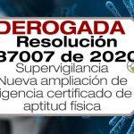 La Resolución 37007 de 2020 amplía la vigencia del certificado de aptitud física y otras disposiciones