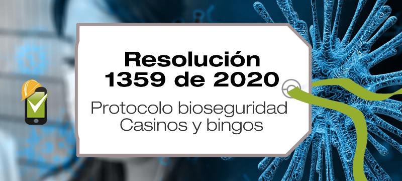 La Resolución 1359 de 2020 adopta el protocolo de bioseguridad en casinos y bingos