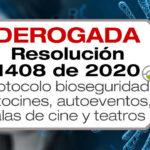 La Resolución 1408 de 2020 adopta el protocolo de bioseguridad para autocines, autoeventos, salas de cine y teatros.