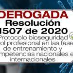 La Resolución 1507 de 2020 adopta el protocolo de bioseguridad para el fútbol profesional