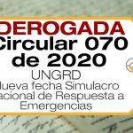 La Circular 070 de 2020 modifica la Circular 068 de 2020 y establece el simulacro nacional el jueves 22 de octubre de 2020 a las 9:00 am.
