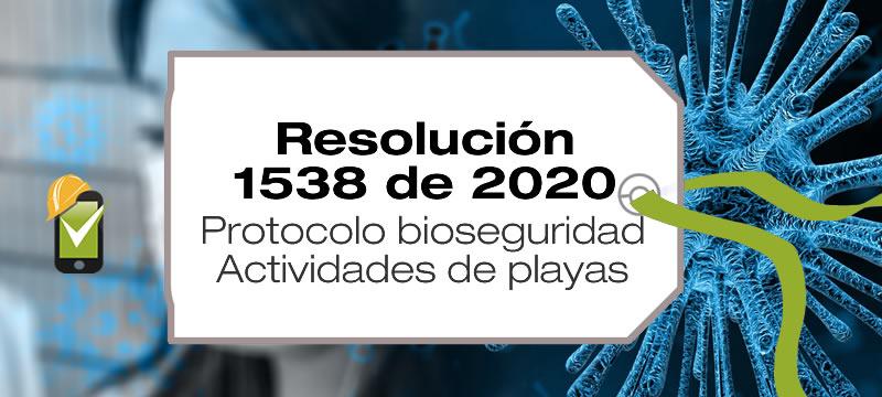 La Resolución 1538 de 2020 adopta el protocolo de bioseguridad para las actividades de playas