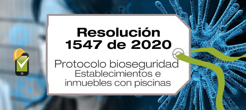 La Resolución 1547 de 2020 adopta el protocolo de bioseguridad para inmuebles y establecimientos con piscinas.