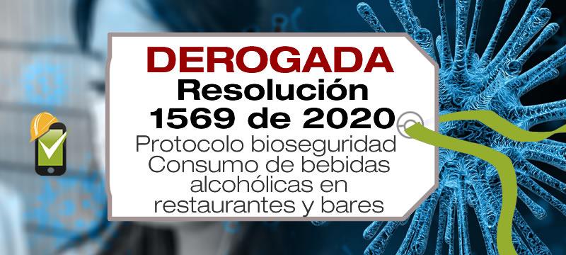 La Resolución 1569 de 2020 adopta el protocolo de bioseguridad para el consumo de bebidas alcohólicas en restaurantes y bares