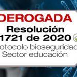 El Ministerio de Salud y Protección Social adopta el protocolo de bioseguridad para el sector educación mediante la Resolución 1721 de 2020.