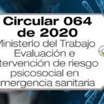 La Circular 064 de 2020 de Mintrabajo regula la evaluación e intervención de riesgo psicosocial durante la emergencia sanitaria,
