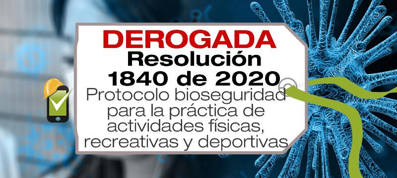 La Resolución 1840 de 2020 adopta el protocolo de bioseguridad para la práctica de actividades físicas, recreativas y deportivas.