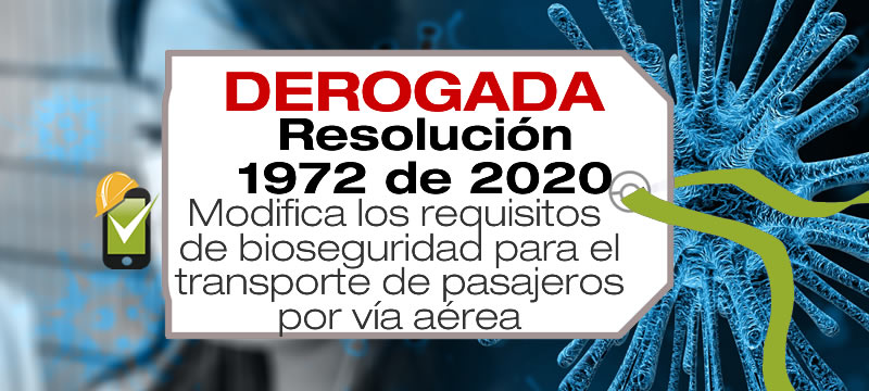 La Resolución 1927 de 2020 modifica los requisitos de bioseguridad para el transporte internacional de personas por vía aérea en Colombia.