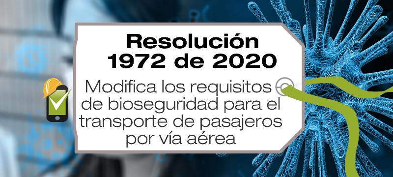 La Resolución 1927 de 2020 modifica los requisitos de bioseguridad para el transporte internacional de personas por vía aérea en Colombia.