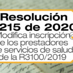La Resolución 2215 de 2020 modifica las condiciones de inscripción de los prestadores de servicios de salud establecidas en la R3100/19