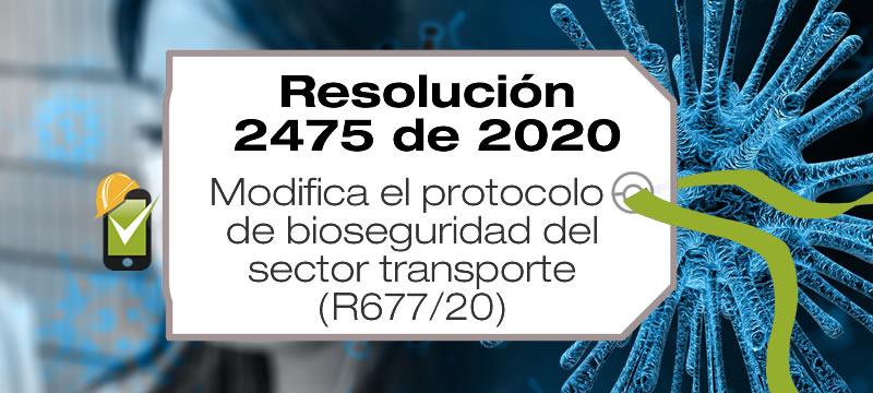 La Resolución 2475 de 2020 modifica el protocolo de bioseguridad del sector transporte adoptado mediante la Resolución 677 de 2020.
