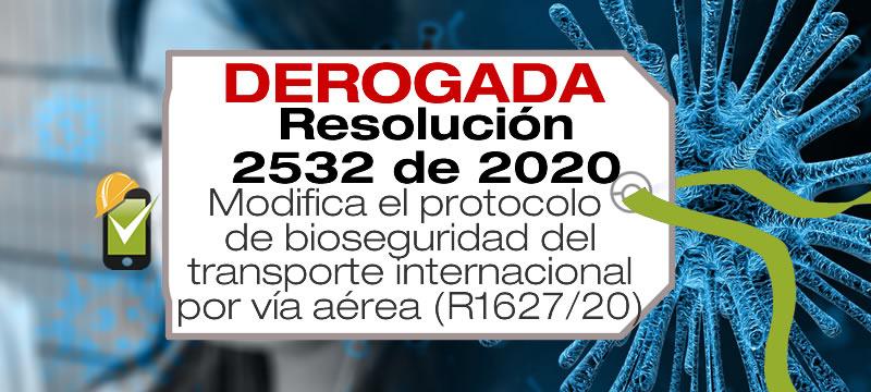 La Resolución 2532 de 2020 modifica los requisitos de bioseguridad para el transporte internacional de personas por vía aérea en Colombia.