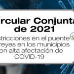 Minsalud y Mininterior establecen medidas focalizadas para municipios con alta afectación de COVID-19 durante el puente de reyes en la circular conjunta 01 de 2021.