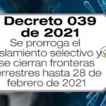 El Decreto 039 de 2021 amplía el aislamiento selectivo con distanciamiento Individual responsable hasta el 28 de febrero de 2021.