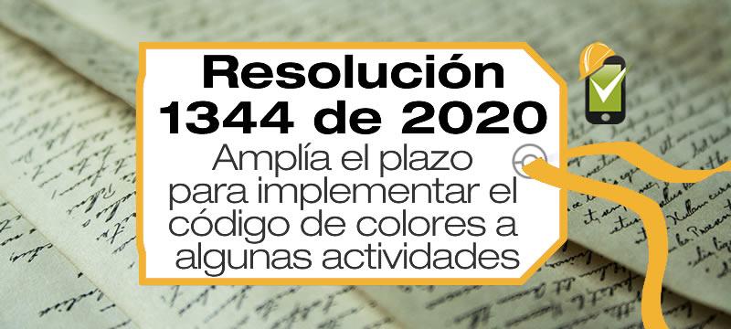 La Resolución 1344 de 2020 amplía el plazo para implementar el código de colores (R2184/19) al sector salud y otras actividades.